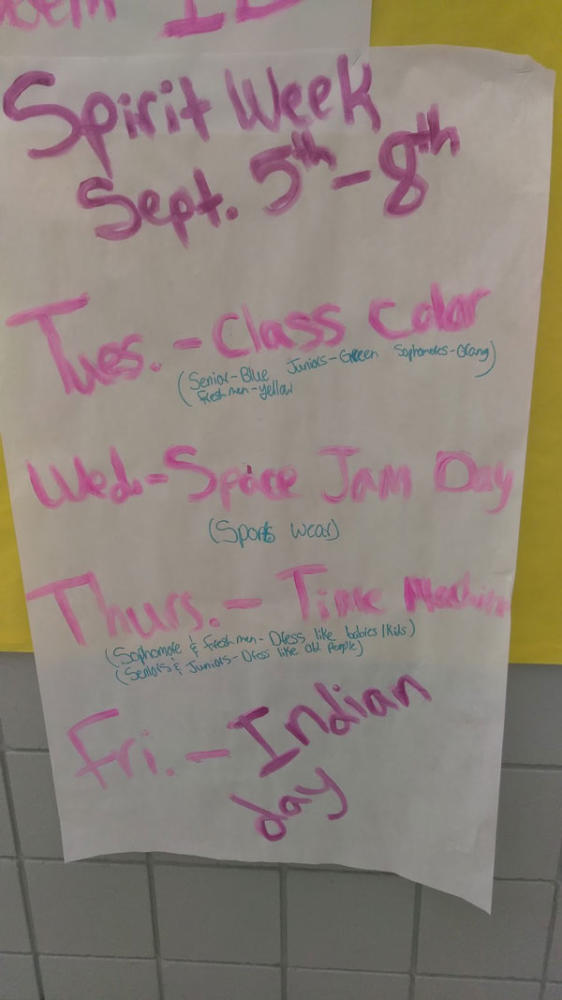This Student Council made poster advertises the various Homecoming spirit days.