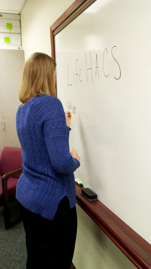 Conselor Laci Cox prepares for a meeting of the newly formed Life H.A.C.S. group recently. The group started meeting on Sept. 25 in the counseling center.