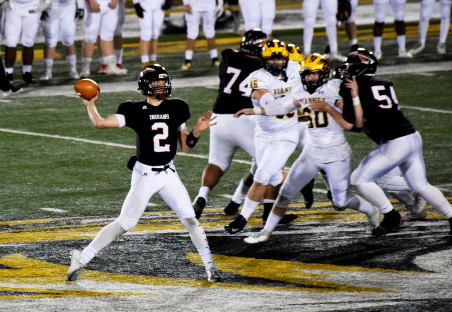 Seeing an open receiver, Senior Quarterback Ty Baker (2) passes the ball downfield in the MSHSAA Class 5 Show Me Bowl Dec. 1. Baker completed 7 of 11 passes for 114 yards and ran 19 times for 85 yards in the 28-14 loss to Vianney.