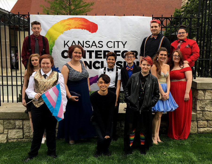 Fort+Osage+students+pose+for+a+photo+outside+of+the+Equality+Prom+on+May+3.+The+event+is+sponsored+by+the+Kansas+City+Center+for+Inclusion.