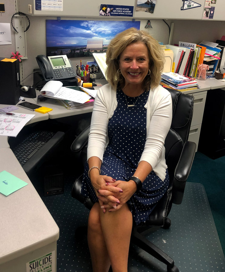 Working her last few days, Counselor Ms. Mary Hay takes a moment for this photo. Ms. Hay will retire at the end of the 2018-19 school year after 19 years of service to the district.