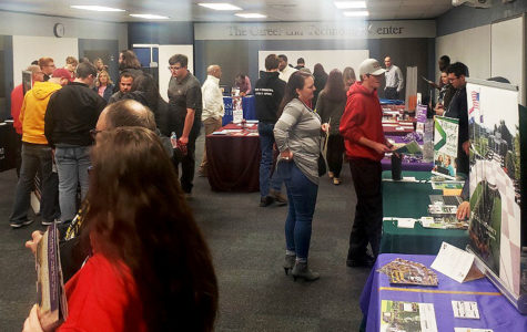 Students find information at college fair