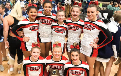 The Cheer Team poses with it's 2nd Place plaque at the State Tournament in Columbia. The team consists of (Front row L to R) seniors Sydnei Flaig, Taylor Menne and Sam Mygatt. (Back row L to R) freshman Lohany Galeas, freshman Tatyana Blankinship, sophomore Jaden Wolfe, freshman Madison Corish and freshman Courtney Canzonere.