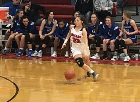 Dribbling the ball, senior Sophia Cornett moves to the top of the key to set up the offense. She has scored 40 points on the season for the Indians.
