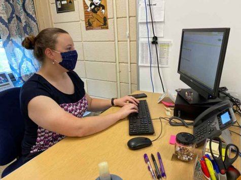 Assignments in Cyberspace. Working on her virtual classes, Ms. Rachel Schaller prepares an assignment for the class. Ms. Schaller started her first year at FOHS and received her education from Emporia State University.