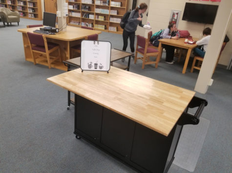 This table marks the new location of the coffee shop in the Library Media Center. The shop is scheduled to open Oct. 4.