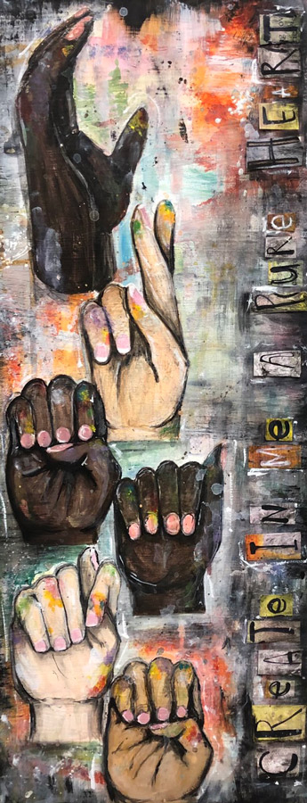 "Senior Art Student Talynn Simer's art piece ""Faith Through Psalms"" will be feature in the National Art Educators Association Virtual Gallery starting Jan. 28"