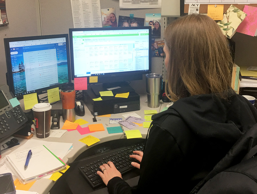 High School Counselor Ms. Laci Cox works in her office to prepare for next year's schedule. Students recently completed their schedule requests for the 2019-20 school year.