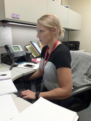 Composing an email at her desk, Guidance Counselor Ms. Katie Parris works  with students to help them with a variety of issues. She starting work at the school over the summer and replaced Ms. Mary Hay who retired at the end of the last school year.