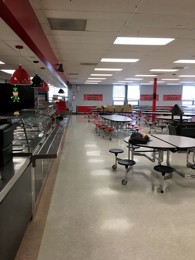 """The high school cafeteria sits idle during the COVID-19 Pandemic. Seniors did not have a chance to have ceremonial """"last lunch"""" together as the school had to close under state government orders."""
