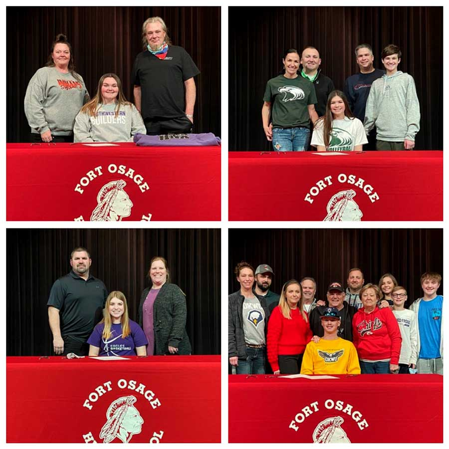 COMMITMENT: Seniors Harley Vassholz (TL), Audrey Griffin (TR), Riley Christiansen (BR) and Kaitlyn Ward (BL) all signed Letters of Intent to play college sports.