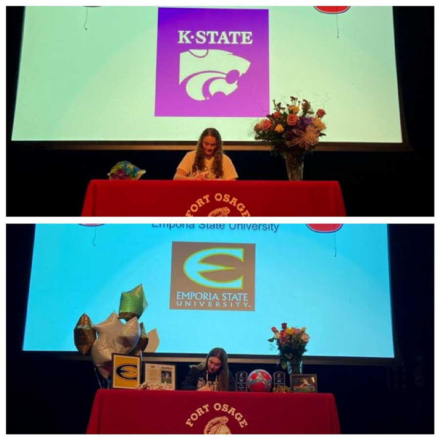 MOVING UP. Seniors Kendra Siefker (Top) and Aliyah Ayala (Bottom) signed Letters of Intent to play sports in college.
