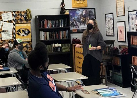 LESSON TIME. Explaining an assignment, 2021 FOHS Teacher of the Year Ms. Heather Hopkins engages her students from the front of the classroom. Ms. Hopkins teaches ELA courses and is also the school