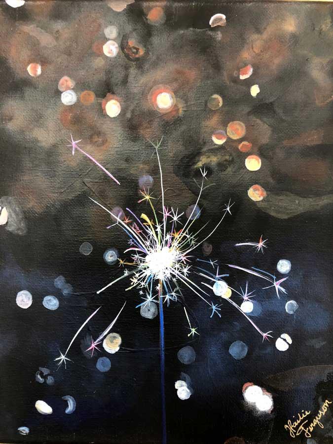 NIGHT TIME GLINT. Junior Hailie Ferguson earned a Silver Key for her art work,